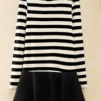Black and White One Piece Dress with Long Sleeves Black. from topsales