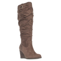 Dr. Scholls Poe Wide Calf Slouch Wedge Boots - Stucco