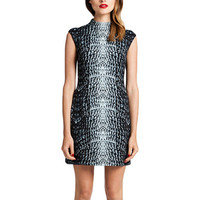 Cynthia Steffe Sleeveless Printed Dress with Extended Collar