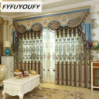 European luxury King Queen embroidered gold blind curtains for the living room with the sheer luxury hotels suitable for bedding