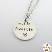 Hello Sweetie - Dr Who Inspired  - Hand Stamped Necklace with chain