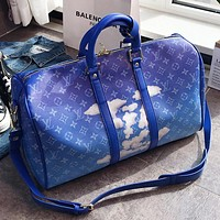 LV Fashion New Monogram Print Leather Shoulder Bag Crossbody Bag Handbag Blue