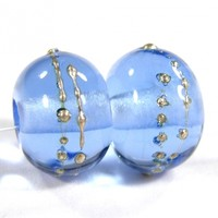 Transparent Light Blue Handmade Lampwork Glass Beads 052 Shiny (Choices of Etched, .999 Fine Silver, Shapes, Sizes, Large Hole Beads Extra)