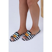 Pineapple Shower Flats - Black And White Stripe Print