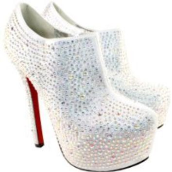 Buy Womens Silver Diamante High Stiletto Heel Ankle Shoe Boots at Best Buy Shop