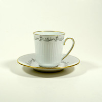 Vintage coffee cups, White fluted Cup and Saucer Coffee Tea, Vintage China Set, White Gold Cup, Tableware, Bavaria, Eschenbach, Germany
