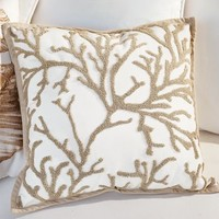Branch Coral Embroidered Indoor/Outdoor Pillow