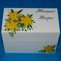 Hand Painted Recipe Card Box Personalized Wood Wedding Recipe Box Custom Wooden Advice Box Distressed Roses Anniversary Bridal Shower Gift