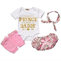 Baby Girls Floral Outfit Romper+Shorts Dress Leg Warmer Headband Sets Clothes Prince Daddy Letters Print Outfit Sunsuit Clothing