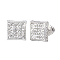 Micropave Sterling Silver Stud Earrings Screwbacks Clear CZ 9mm 3d Kite Shape