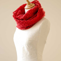 Knitted lace cowl, silk and mohair lace cowl, knitted snood, mohair lace wrap in red 'Snowflakes'