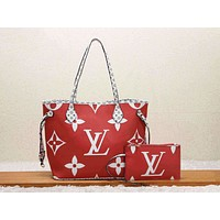 Louis Vuitton LV Women Shopping Leather Tote Handbag Shoulder Bag Purse Wallet Set Two-Piece Red