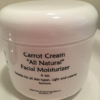 Organic Carrot Cream made with Essential Oil All Natural Facial Moisturizer Perfect for Mature Skin, Problem Skin, Psoriasis and Eczema