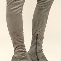 Tahlia Grey Suede Over the Knee Boots
