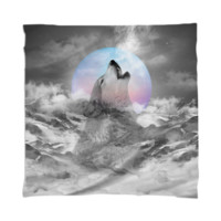 Maybe the Wolf Is In Love with the Moon Scarf / Mini Wall Tapestry created by soaringanchordesigns | Print All Over Me