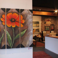Orange Flower Blossom Impasto Painting, Heavy Textured Canvas by Palette Knife, Modern Gallery Wrap Wall Art Deco by Studio Mojo Artwork