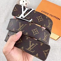 Inseva LV Louis Vuitton New fashion monogram print leather couple belt Coffee With Box