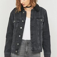 BDG Oversized Western Sherpa Black Denim Jacket - Urban Outfitters