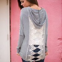 Lace Back Hoodie, Black/Gray