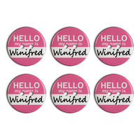 Winifred Hello My Name Is Plastic Resin Button Set of 6