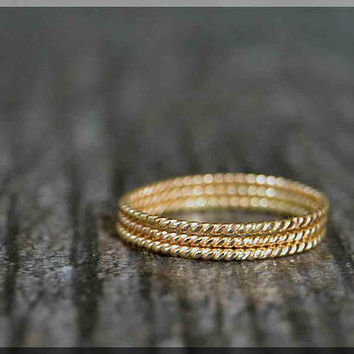 Set of 3 Ultra Thin 14k Gold Filled Stacking Ring, Twisted 14k gold filled ring, Delicate gold filled ring, Dainty stacking ring