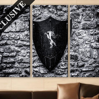 Large Wall Art Canvas Print 3 Panel Art Wall Hanging B&W Crest Shield Wall Art Photo on Canvas Wall Decor for Home Office Wall Decoration