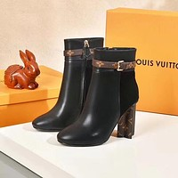 lv louis vuitton trending womens black leather side zip lace up ankle boots shoes high boots 199