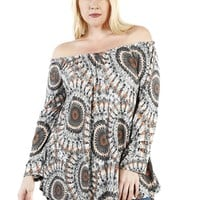 Plus Size Kaleidoscope Abstract 3/4 Sleeve Fashion Blouse U.S.A