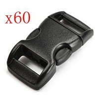 """Bluecell 60 PCS 3/8"""" (10mm) Black Contoured Side Release Plastic Buckles + Free Bluecell Cable Tie   AihaZone Store"""