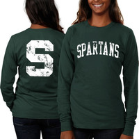 Michigan State Spartans Women's Long Sleeve Fitted Slab Serif T-Shirt – Forest Green