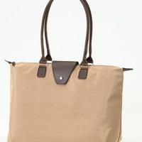 Fold-Up Tote Bag with Long Handle - Sand