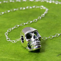 Tiny Silver Skull Necklace, Little realistic skull, dia de los muertos necklace