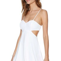 LUCLUC White Strappy Hollow Out Backless Skater Dress - LUCLUC