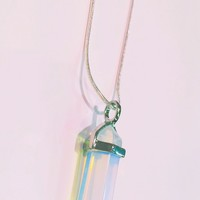 Opal Holographic Large Crystal Point Necklace
