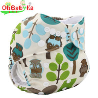 Ohbabyka Baby Nappy Cover Couches Lavables Adjustable Baby Cloth Diapers Character Printed Reusable Washable Diaper for 0-3Years