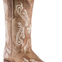 Corral® Ladies Tan Brown Cortez w/ Cream Embroidery Square Toe Western Boots