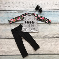 ain'tno mama cotton clothing kids wear floral print pant outfits baby girls matching accessories bow