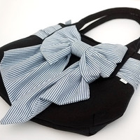 Navy Pleated Tote Handbag with Huge Nautical Bow. Rounded Purse Bag with Fabric Sailor Bow Pretty Feminine Blue White Wraparound Sash Belt