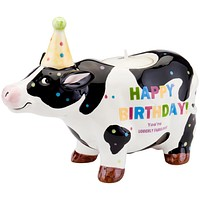 Cow With Birthday Hat Birthday Candle Holder
