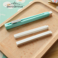 Scalable Refills Cute Sliding Pushing Eraser Set With Two Refills Borracha Office School Supplies Kawaii Material Escolar