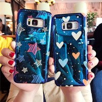 LOVECOM Blu-Ray Phone Case For Samsung Galaxy S7 Edge S8 S9 Plus Note8 Fashion Laser Cool Heart & Stars Soft IMD Back Cover Case