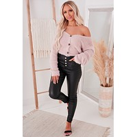 Delicate Disposition Fuzzy Cardigan (Dusty Pink)
