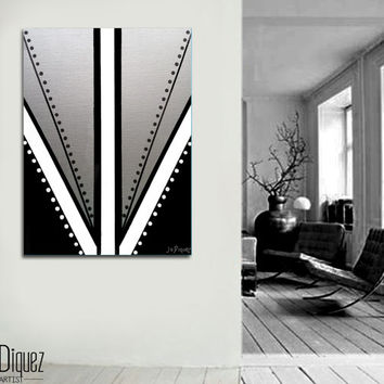 "Original abstract painting on canvas art 30x40"" Geometric with silver. Big painting. Metallic art. Modern wall art Silver painting. Fine art"