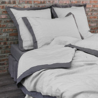 French color Border Washed Linen Doona Cover