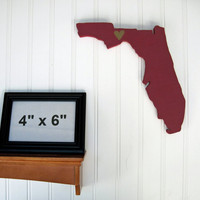 """Florida State Seminoles """"State Heart"""" wall art, handcrafted wood with official team colors"""