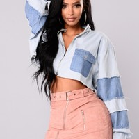 Dawn With It Denim Jacket - Light Denim