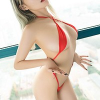 Red Extreme Micro G-String Thong Slingshot One Piece Swimsuit Swimwear