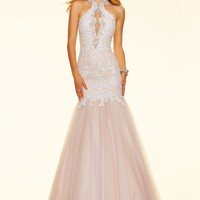 Paparazzi by Mori Lee 98050 Open Back Lace Trumpet Gown