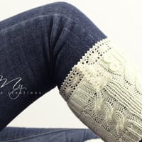Leg Warmers, Crochet Lace Boot Cuffs, Cable Knit, Boot Cuffs, Boot Toppers, Women's Boot Socks, Ivory Boot Cuffs, Knitted Leg Warmers