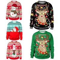 3D Unisex Men Women Ugly Christmas Sweater Vacation Santa Elf Pullover Funny Womens Men Sweaters Tops Autumn Winter Clothing